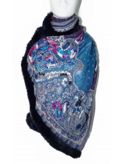 Pashmina Wool Scarf With Fur
